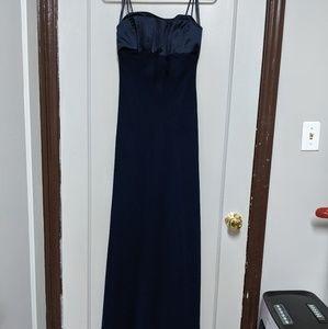 Navy Michaelangelo's Spaghetti Strap Formal Gown